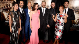 "LOS ANGELES, CA - AUGUST 16: (L-R) Actors Sofia Black-D'Elia, Rodrigo Santoro, Jarreth Merz, Ayelet Zurer, Pilou Asbaek, Toby Kebbell, executive producer Roma Downey and actor Jack Huston arrive at the premiere of Paramount Pictures' ""Ben-Hur"" at the Chinese Theatre on August 16, 2016 in Los Angeles, California.   Kevin Winter/Getty Images/AFP"